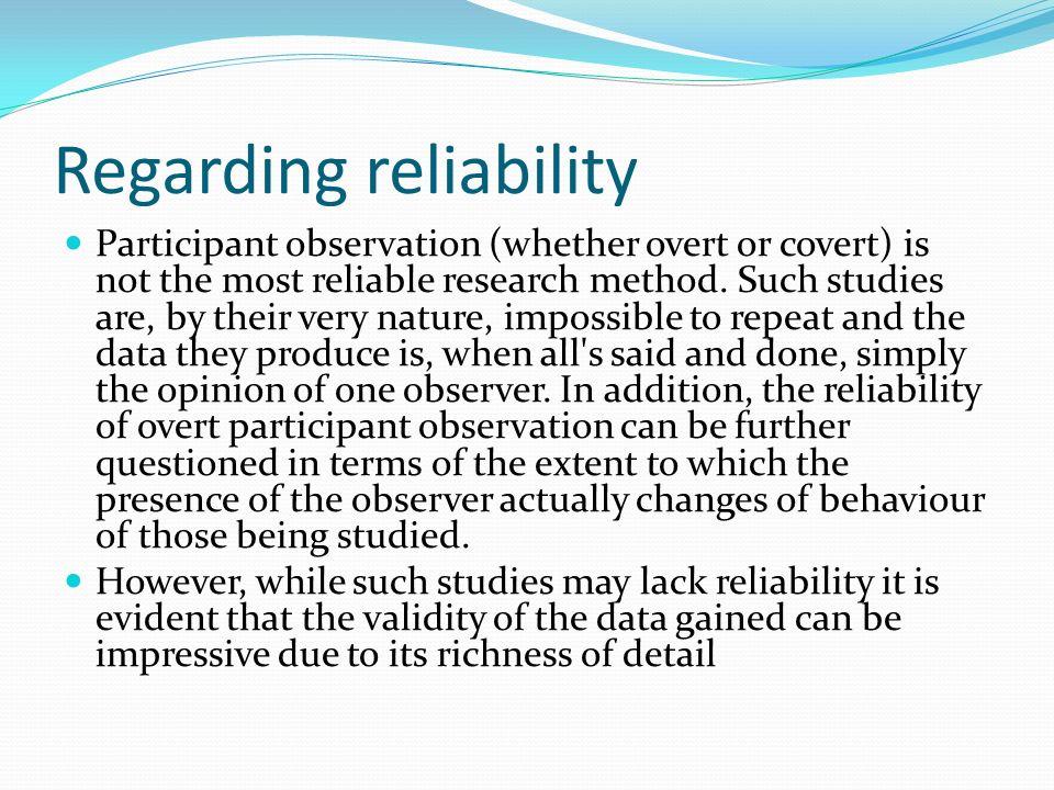 Regarding reliability