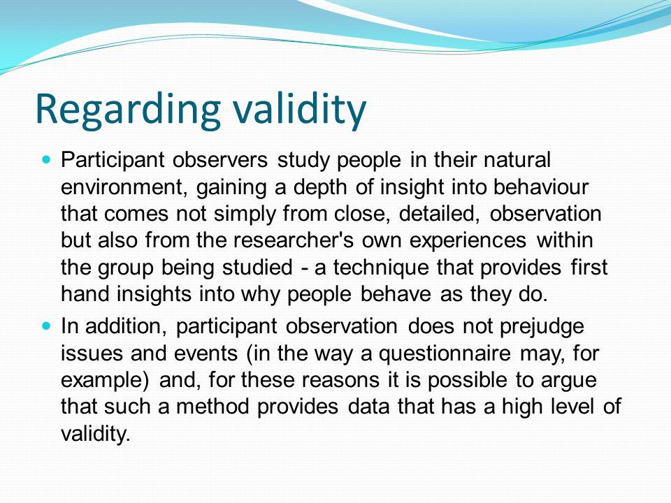 Regarding validity