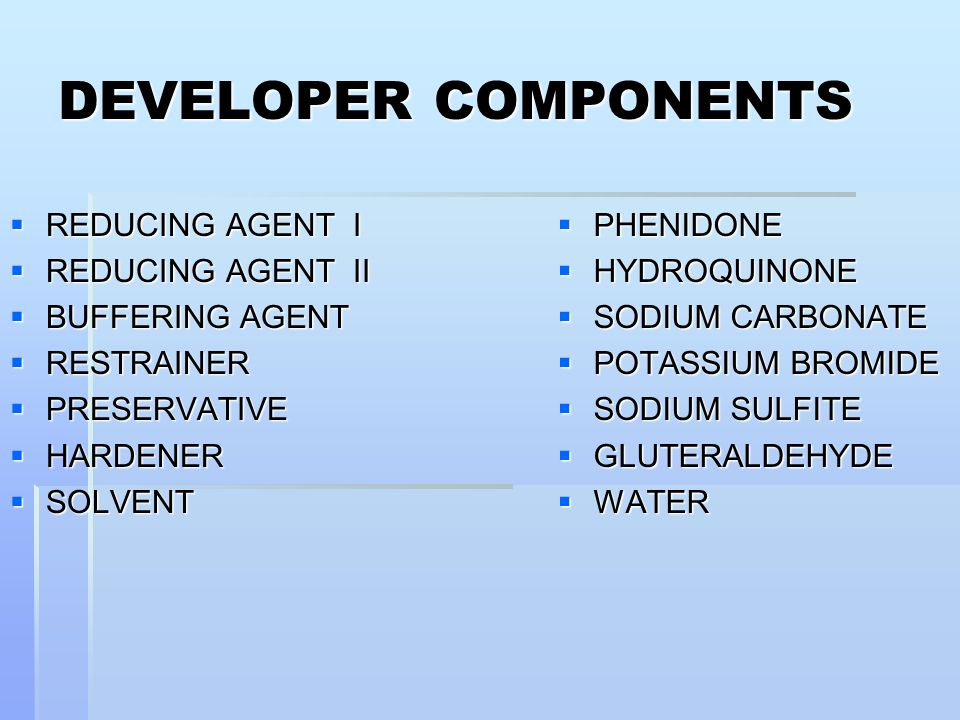 DEVELOPER COMPONENTS REDUCING AGENT I REDUCING AGENT II