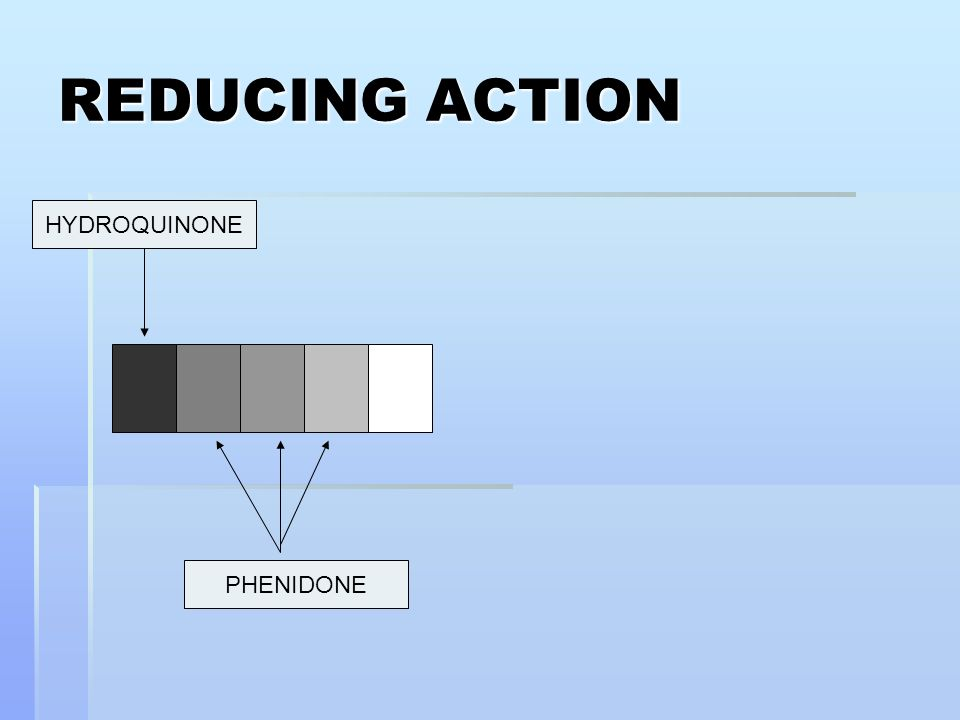 REDUCING ACTION HYDROQUINONE PHENIDONE