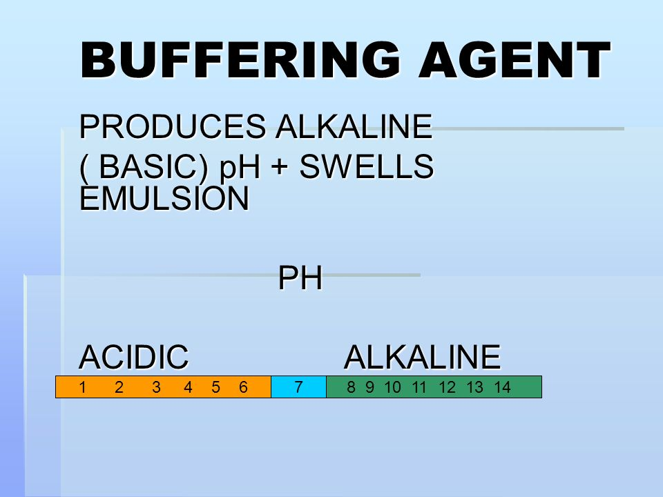 PRODUCES ALKALINE ( BASIC) pH + SWELLS EMULSION PH ACIDIC ALKALINE