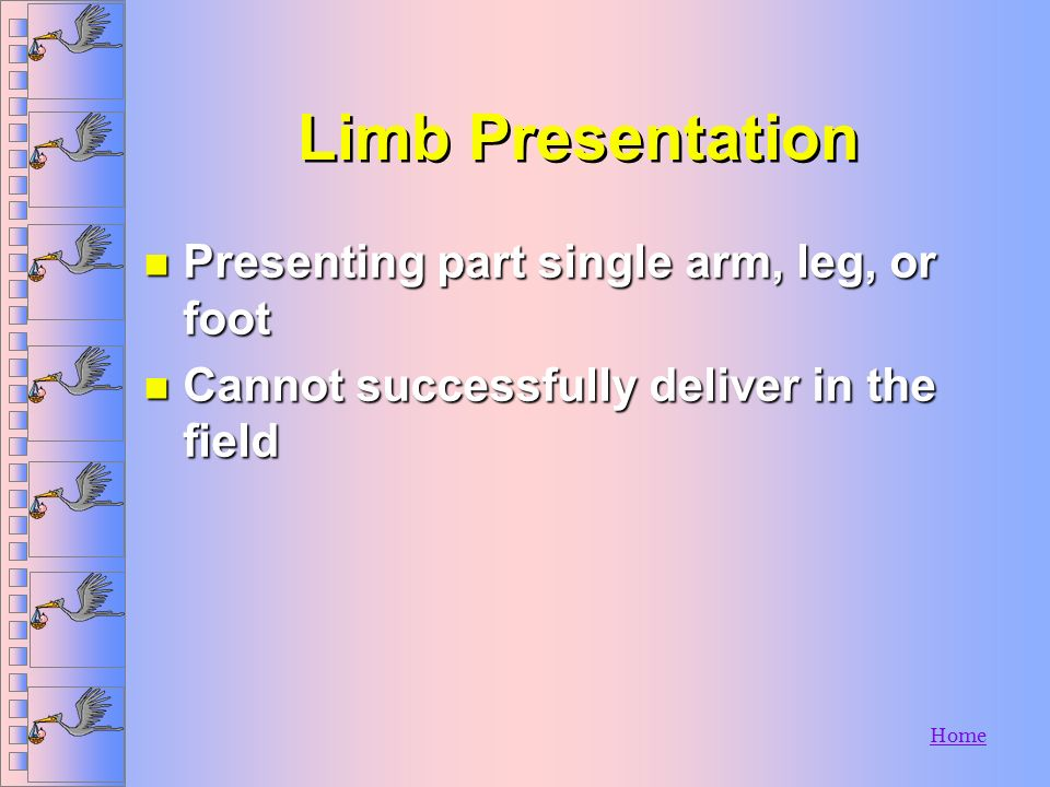 Limb Presentation Presenting part single arm, leg, or foot