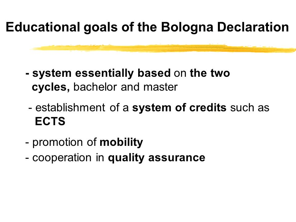 Educational goals of the Bologna Declaration