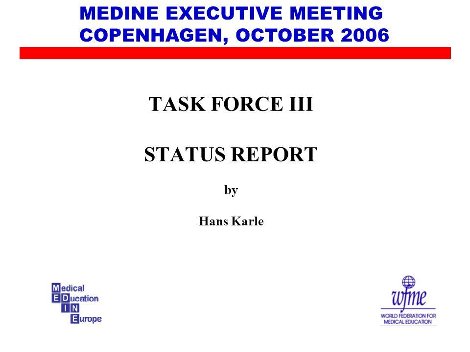 TASK FORCE III STATUS REPORT by Hans Karle