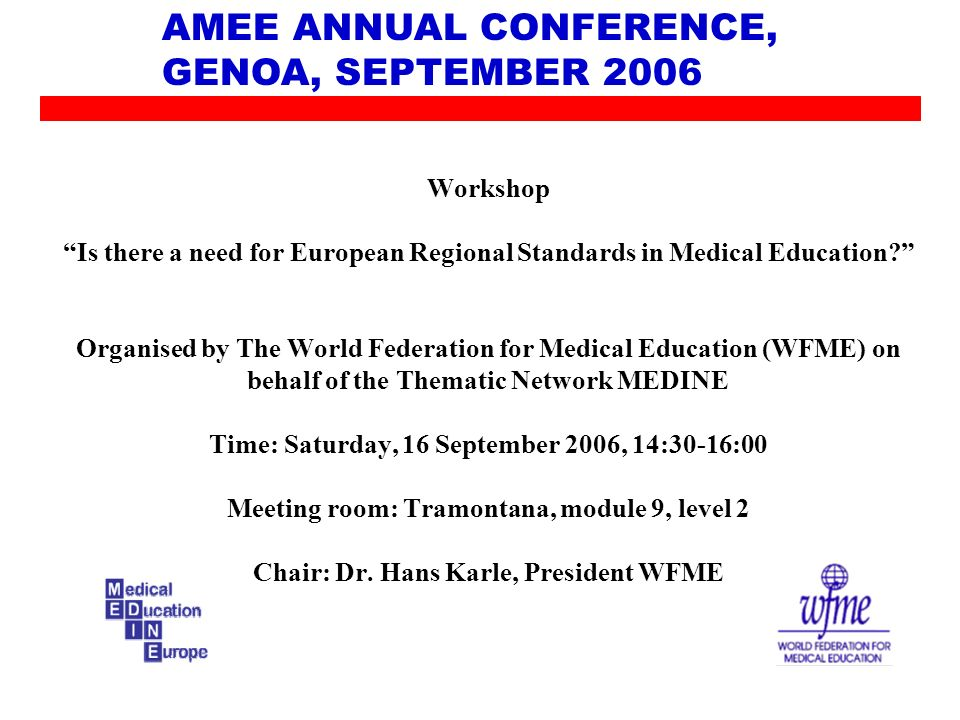AMEE ANNUAL CONFERENCE, GENOA, SEPTEMBER 2006