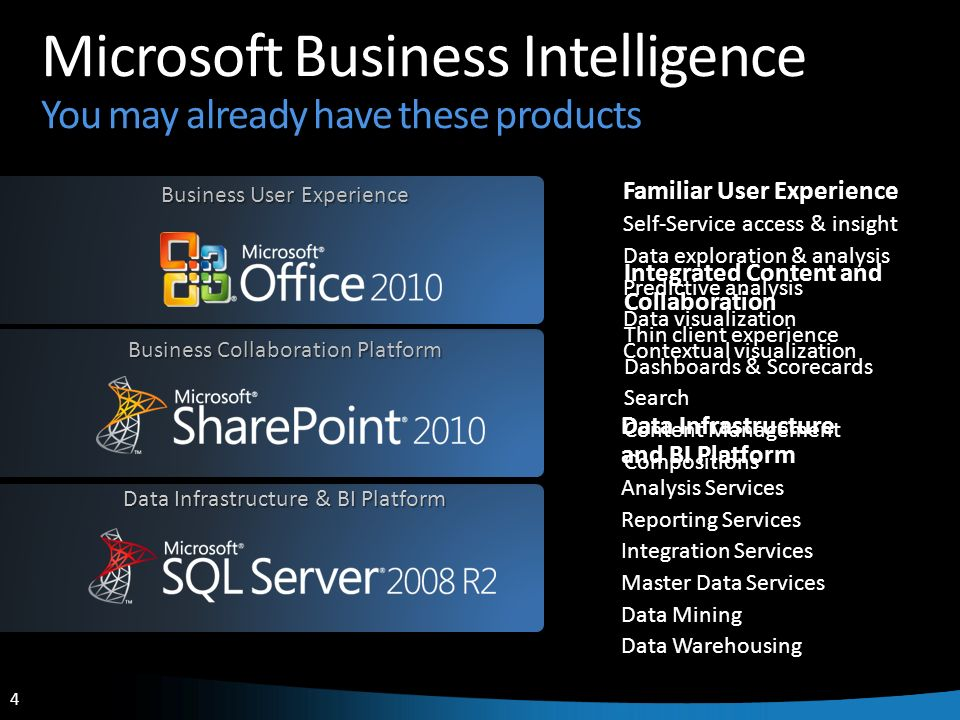 Microsoft Business Intelligence You may already have these products