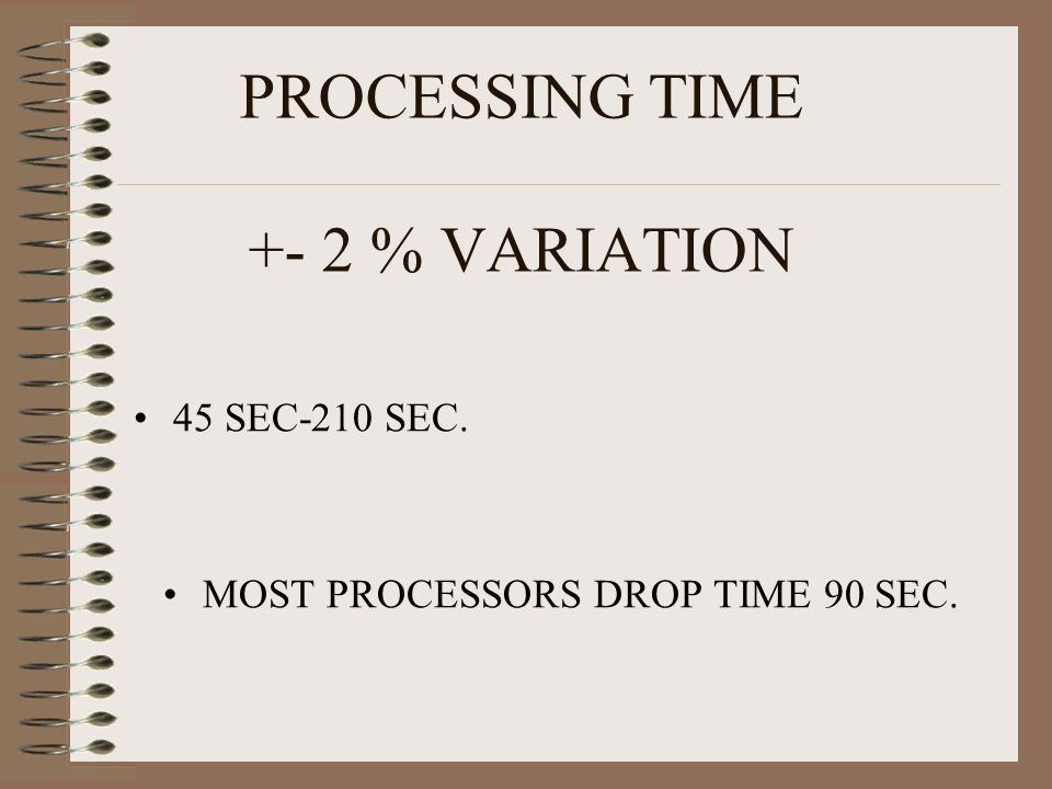 PROCESSING TIME +- 2 % VARIATION