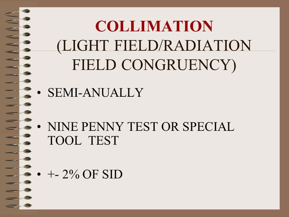 COLLIMATION (LIGHT FIELD/RADIATION FIELD CONGRUENCY)