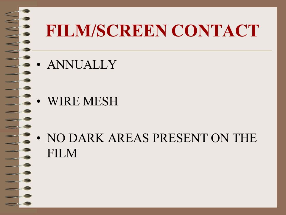 FILM/SCREEN CONTACT ANNUALLY WIRE MESH