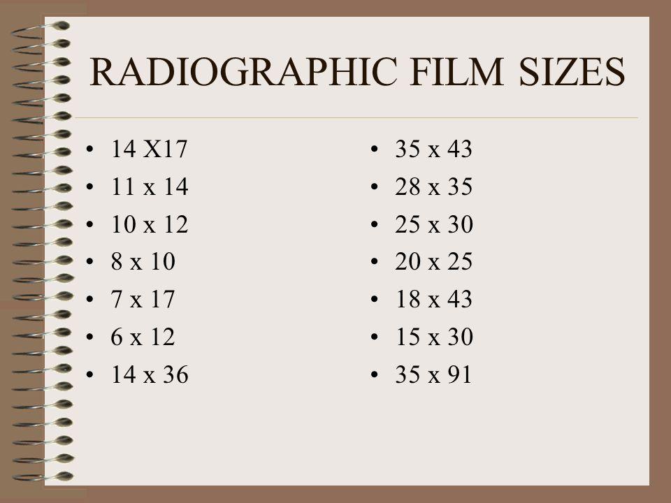 RADIOGRAPHIC FILM SIZES