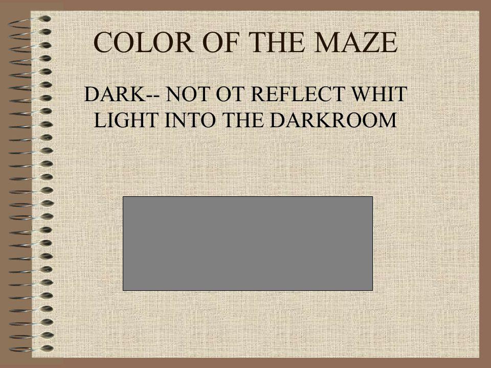DARK-- NOT OT REFLECT WHIT LIGHT INTO THE DARKROOM