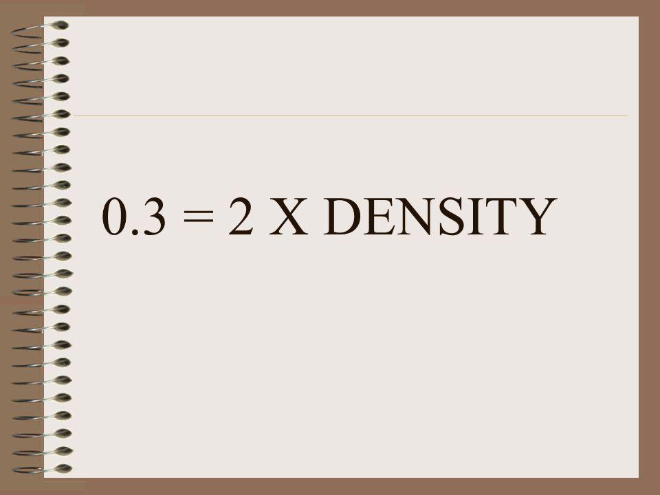 0.3 = 2 X DENSITY