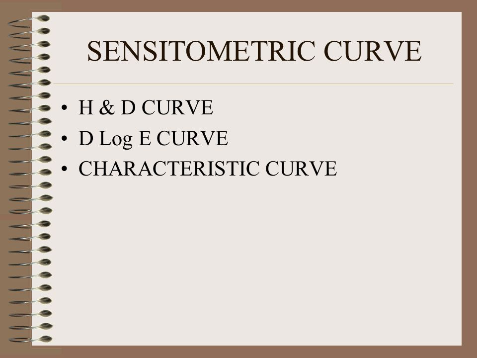 SENSITOMETRIC CURVE H & D CURVE D Log E CURVE CHARACTERISTIC CURVE