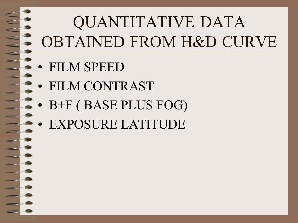 QUANTITATIVE DATA OBTAINED FROM H&D CURVE