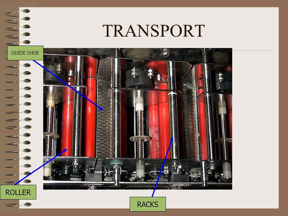 TRANSPORT GUIDE SHOE ROLLER RACKS