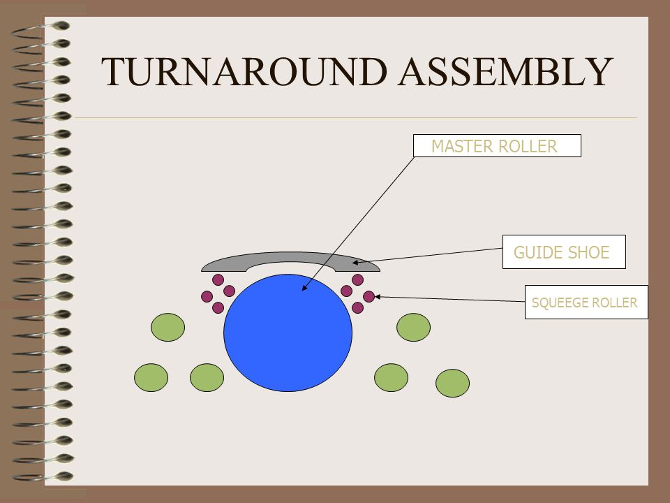 TURNAROUND ASSEMBLY MASTER ROLLER GUIDE SHOE SQUEEGE ROLLER