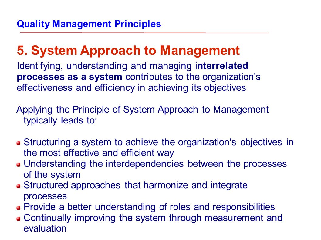 system approach to management Modern management theory: quantitative, system and contingency approaches to management the modern period (1960 to present) after, 1960 management thought has been turning somewhat away from the extreme human relations ideas particularly regarding the direct relation between morale and.