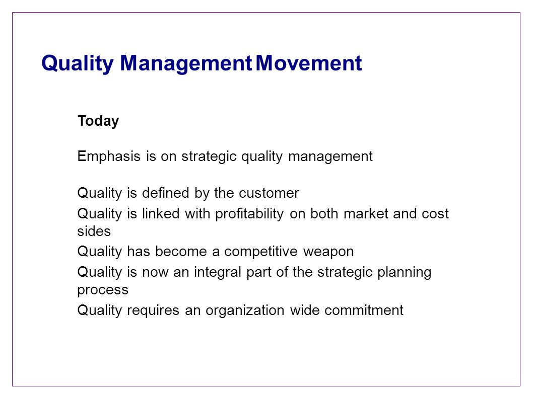 Quality Management Movement