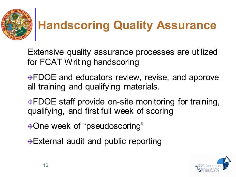 Handscoring Quality Assurance