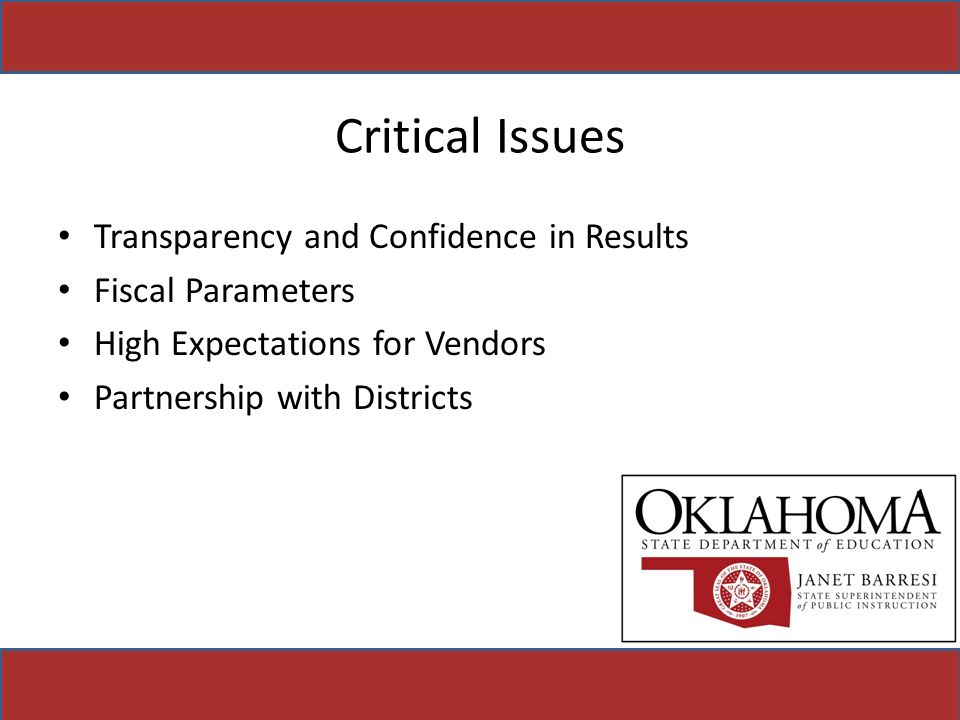 Critical Issues Transparency and Confidence in Results