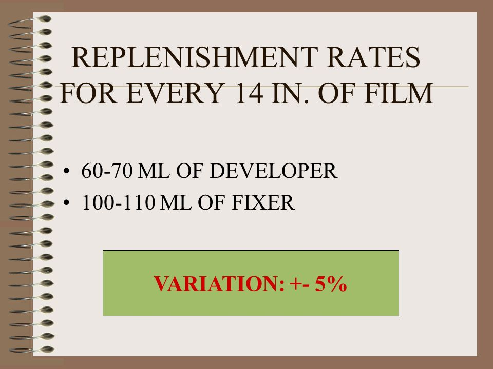REPLENISHMENT RATES FOR EVERY 14 IN. OF FILM