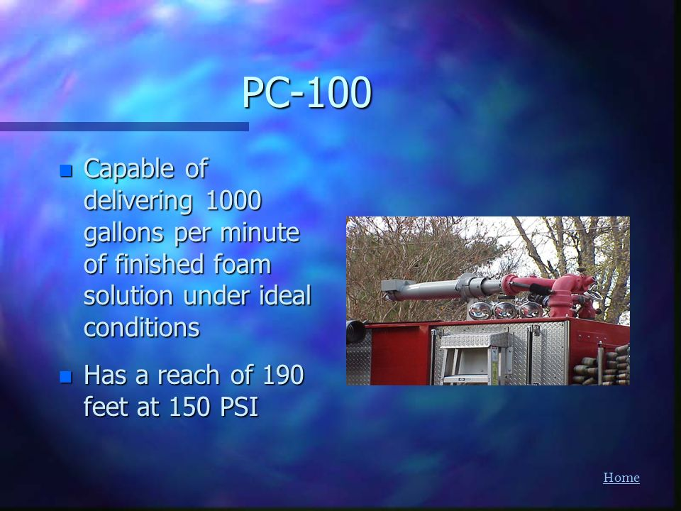 PC-100 Capable of delivering 1000 gallons per minute of finished foam solution under ideal conditions.