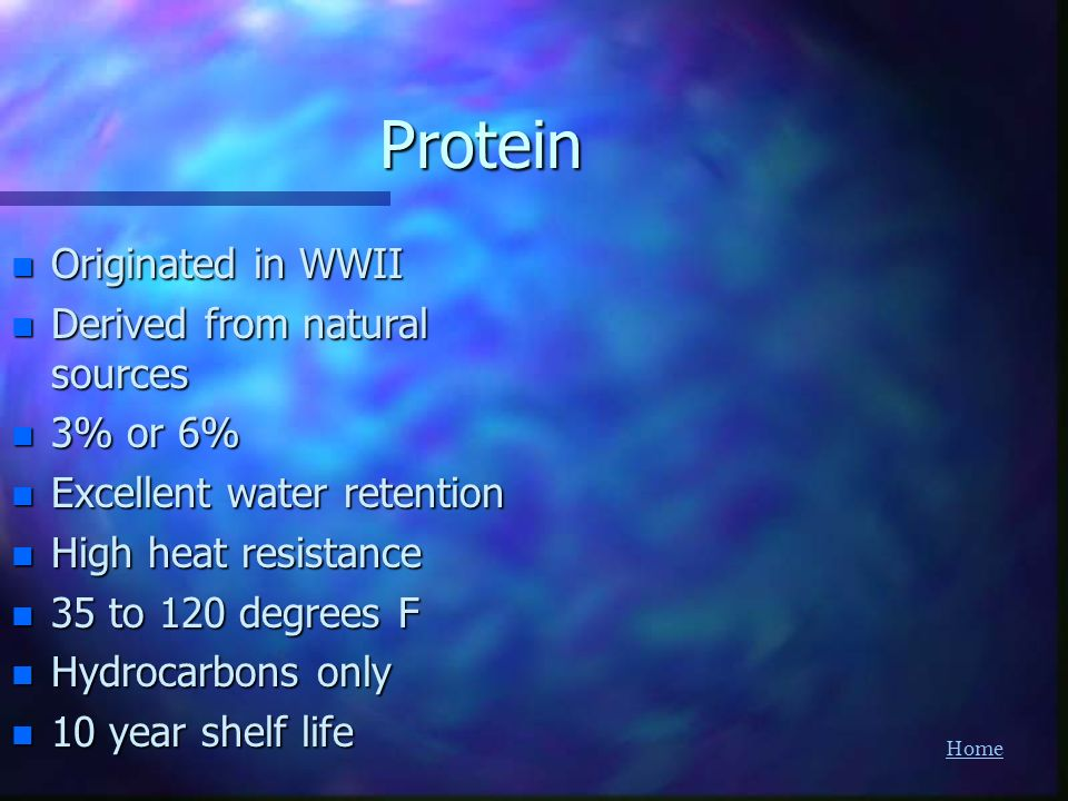 Protein Originated in WWII Derived from natural sources 3% or 6%