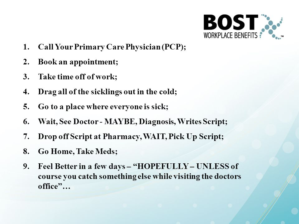 Call Your Primary Care Physician (PCP);