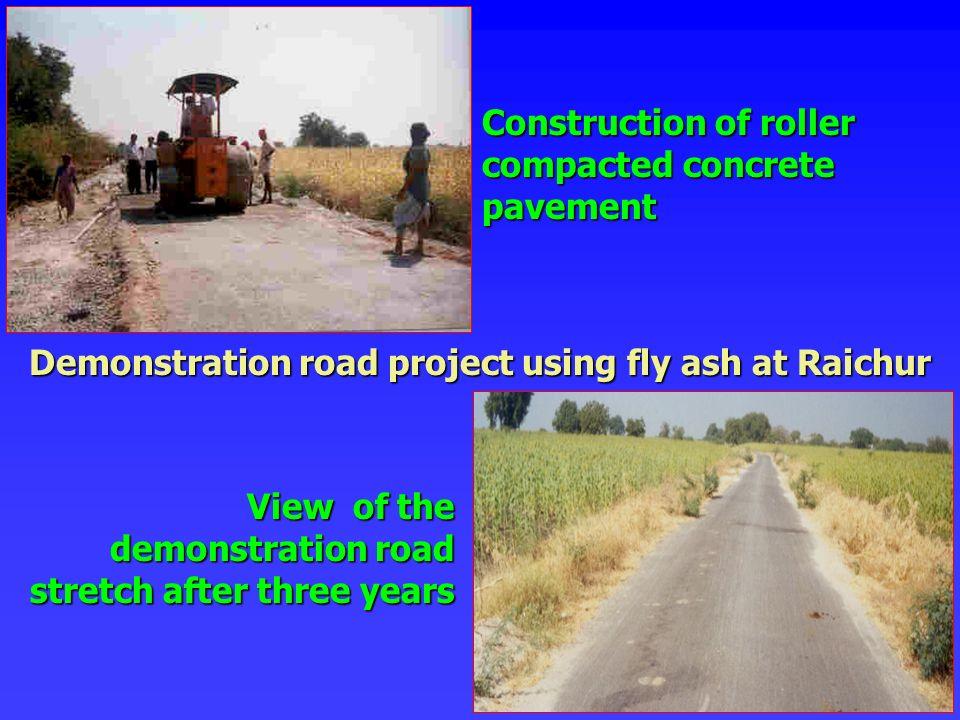 Demonstration road project using fly ash at Raichur