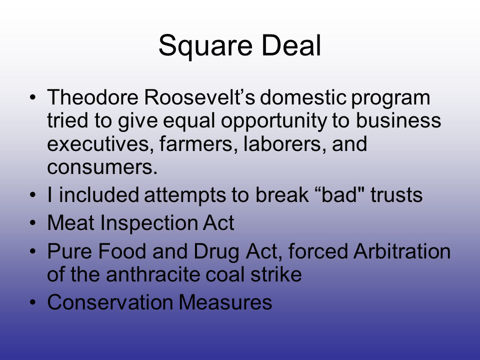 Square DealTheodore Roosevelt's domestic program tried to give equal opportunity to business executives, farmers, laborers, and consumers.