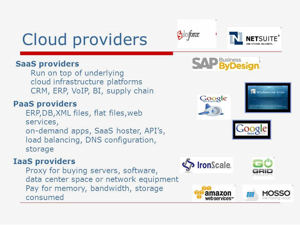 Cloud providers SaaS providers