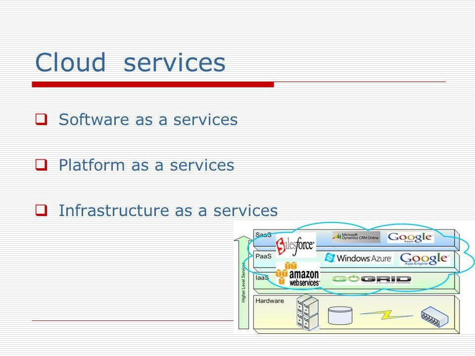 Cloud services Software as a services Platform as a services