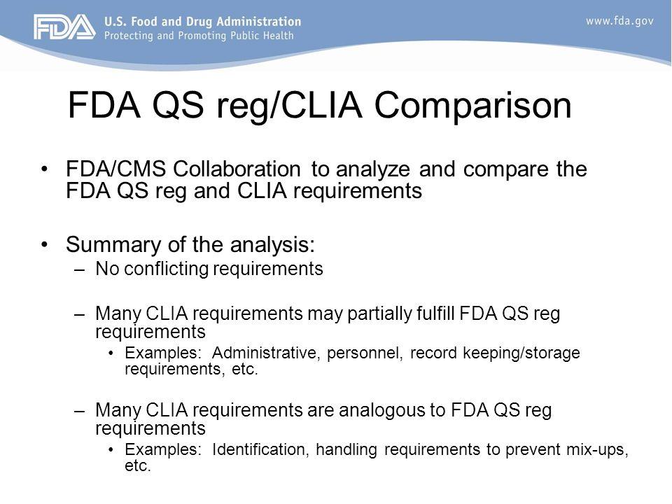 FDA QS reg/CLIA Comparison