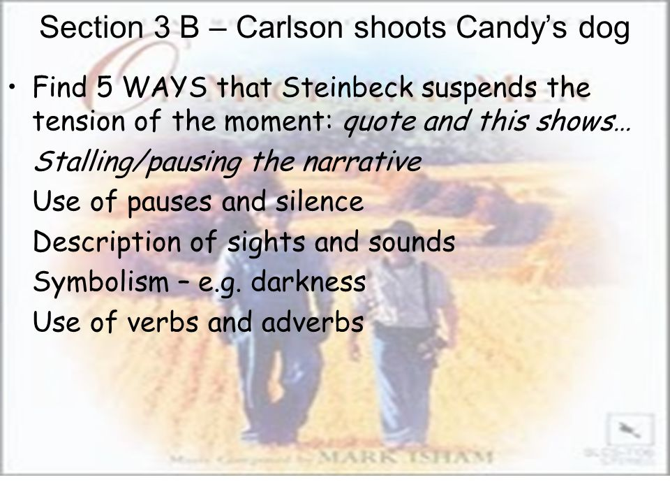 Section 3 B – Carlson shoots Candy's dog