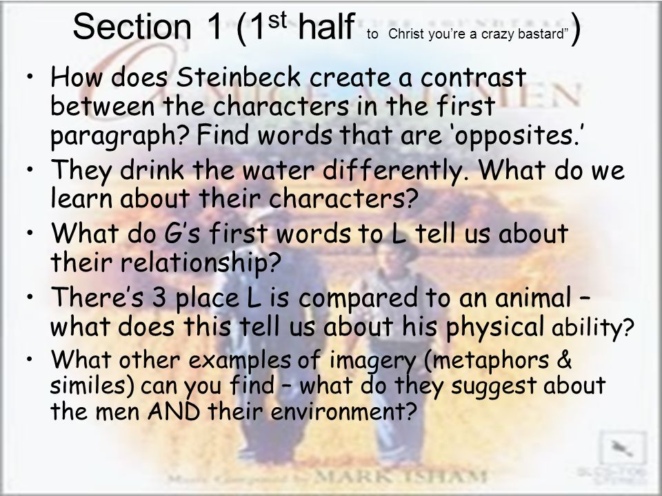 Section 1 (1st half to Christ you're a crazy bastard )