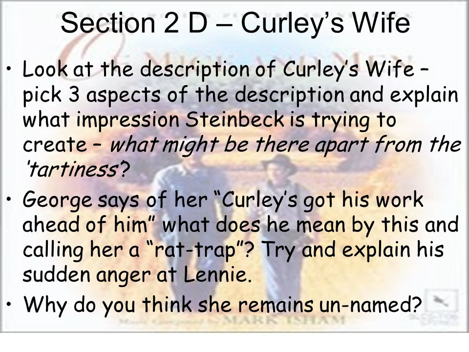 how does steinbeck create curleys wifes How does steinbeck describes curleys wife when she died he decves her as this curley's wife lay with a half-covering of yellow hay.