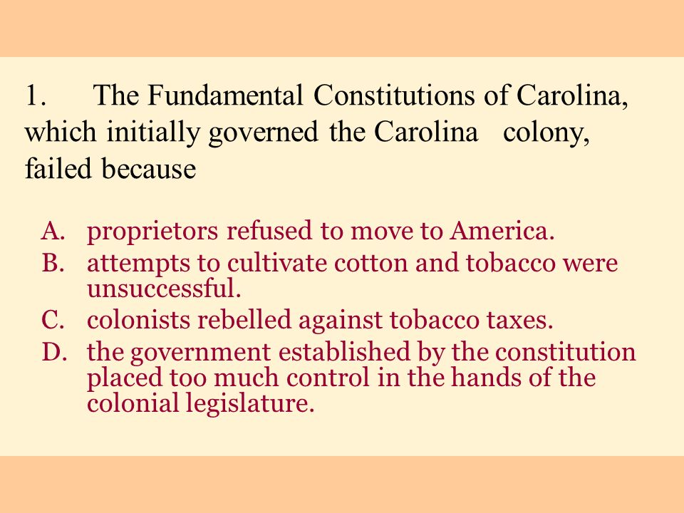 1. The Fundamental Constitutions of Carolina, which initially governed the Carolina colony, failed because