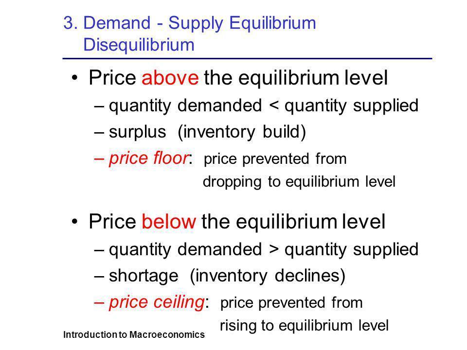 3. Demand - Supply Equilibrium Disequilibrium