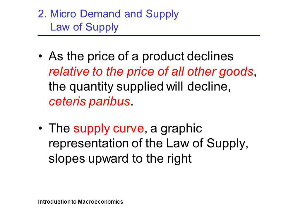 2. Micro Demand and Supply Law of Supply