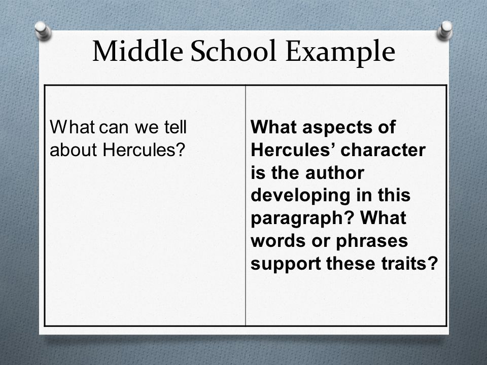 Middle School Example What can we tell about Hercules