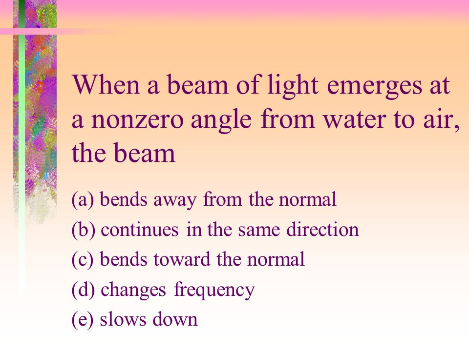 When a beam of light emerges at a nonzero angle from water to air, the beam