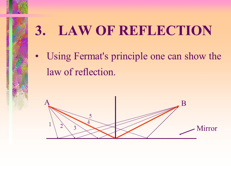 3. LAW OF REFLECTION Using Fermat s principle one can show the law of reflection. A. B. 1. 5. 2.