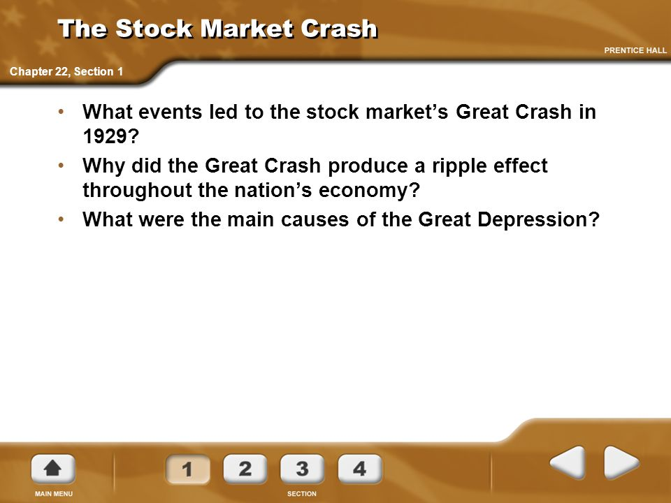 The Stock Market Crash Chapter 22, Section 1. What events led to the stock market's Great Crash in 1929