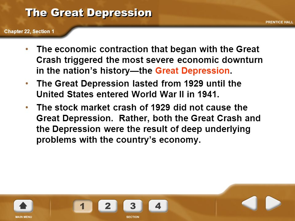 The Great Depression Chapter 22, Section 1.