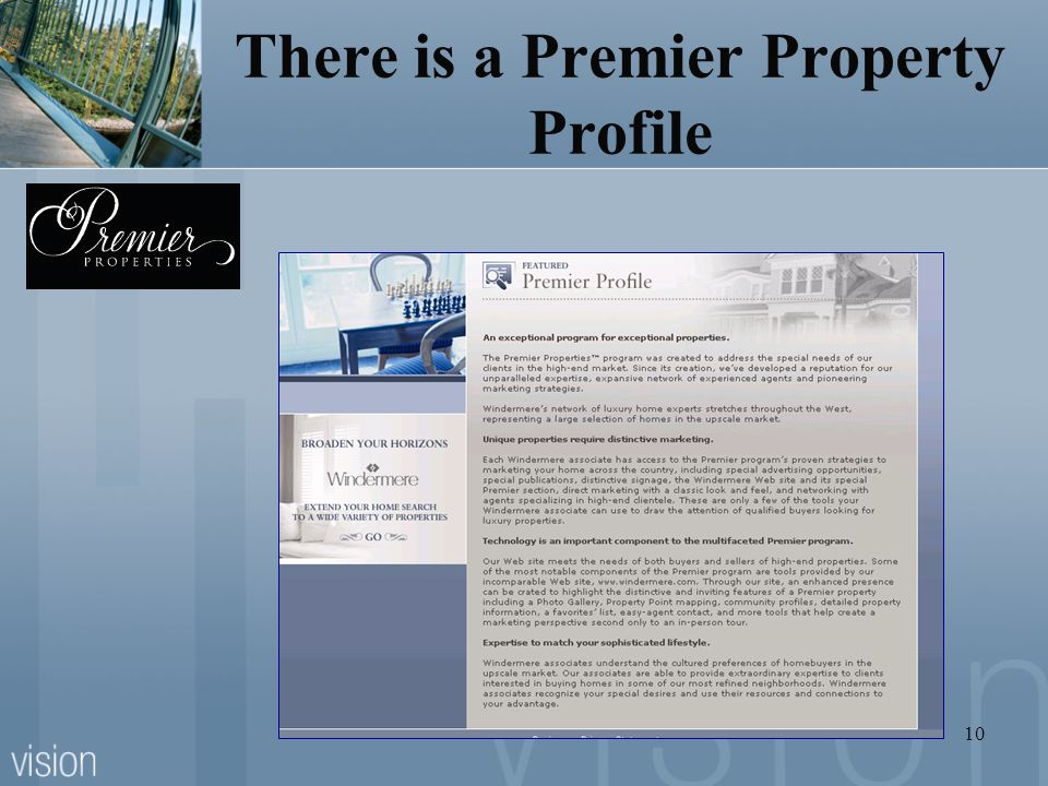 There is a Premier Property Profile