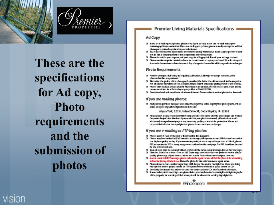 These are the specifications for Ad copy, Photo requirements and the submission of photos
