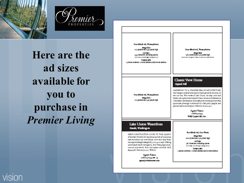 Here are the ad sizes available for you to purchase in Premier Living
