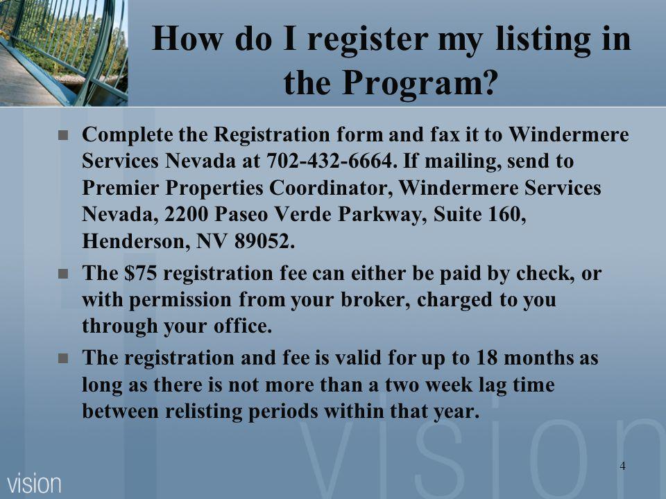 How do I register my listing in the Program