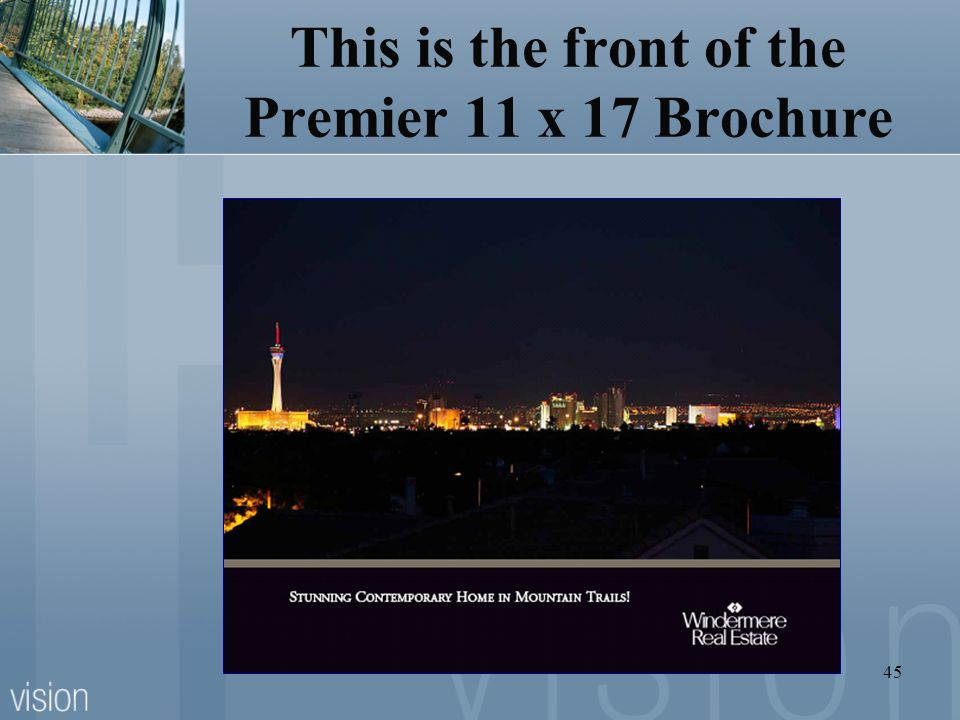 This is the front of the Premier 11 x 17 Brochure