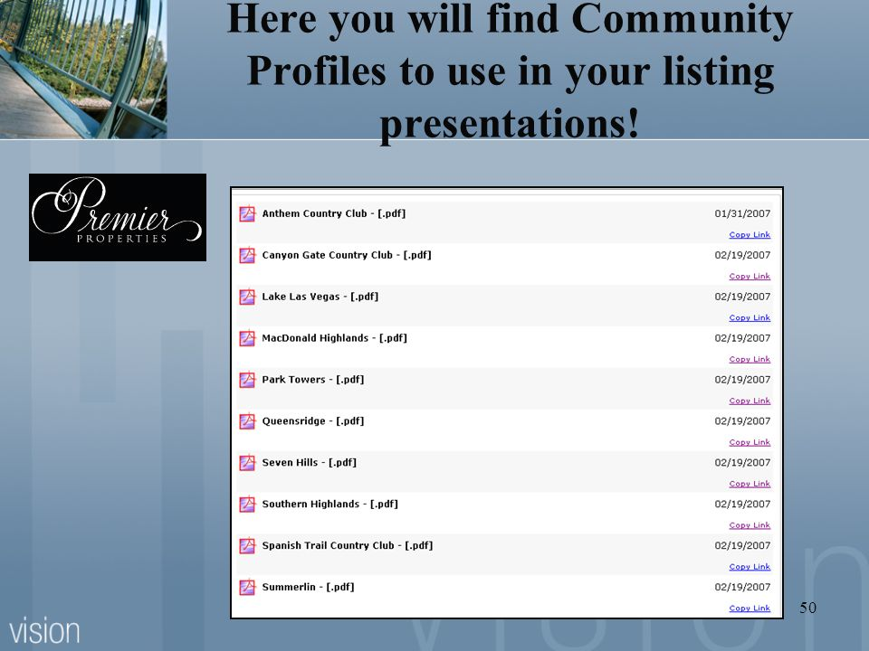 Here you will find Community Profiles to use in your listing presentations!